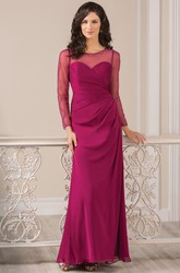 Long-Sleeved Long Gown With Jewels And Illusion Style