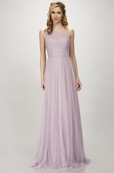 One-Shoulder Sleeveless Ruched Tulle Bridesmaid Dress With Brush Train