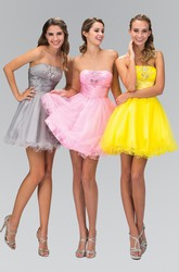 A-Line Short Strapless Sleeveless Dress With Ruching And Ruffles