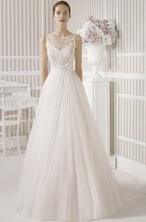 A-Line Scoop Long Lace Sleeveless Satin&Tulle Wedding Dress With Flower And Illusion Back