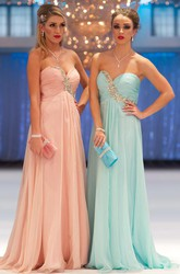 A-Line Sleeveless Empire Floor-Length Sweetheart Ruched Chiffon Prom Dress With Beading And Pleats