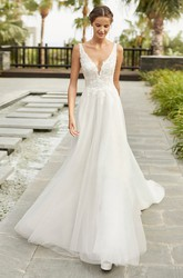 Sexy Sleeveless Lace Tulle Plunging Neckline With Cathedral Train A-line Wedding Dress