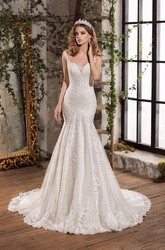 Luxury Lace and Tulle Notched Floor Length Bridal Gown with Chapel Train