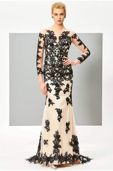 Floral Appliqued Button Back 3/4 Sleeve Illusion Two Tune Mermaid Gown