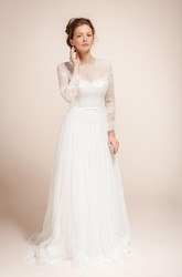 Glamorous Illusion Long Sleeve High Neck Pleated Long Tulle Dress With Sheer Back