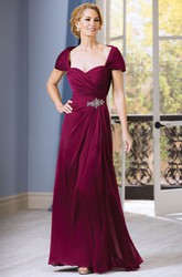 Short-Sleeved A-Line Gown With Beadings And Ruching