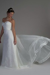 Sweetheart Lace Bridal Gown With Tulle Skirt And Satin Sash