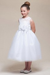 Tea-Length Bowed Empire Floral Tulle&Lace Flower Girl Dress With Sash