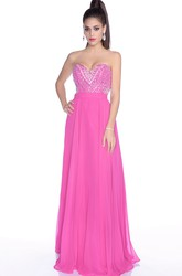 Chiffon Sweetheart A-Line Gown With Sequined Bodice And Keyhole Back
