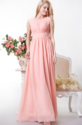 Chic Bateau Neck A-line Chiffon Gown With V Back