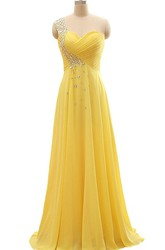 Floor-length One-Shoulder Chiffon Pleats Beading Dress