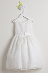 Midi Bowed Organza&Satin Flower Girl Dress With Embroidery