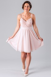 Short Criss-Cross Spaghetti Sleeveless Chiffon Bridesmaid Dress With Straps