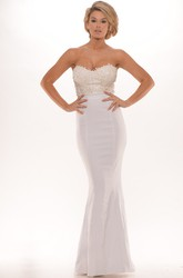 Trumpet Appliqued Long Sleeveless Sweetheart Prom Dress With Backless Style
