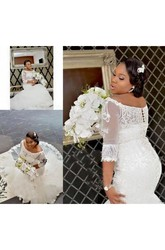 Mermaid Trumpet Off-the-shoulder Lace Button Lace-up Corset Back Wedding Gown