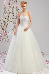 Ball Gown Beaded Sleeveless Floor-Length Sweetheart Tulle Wedding Dress