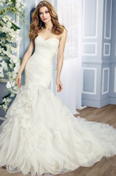 Mermaid Sweetheart Ruffled Organza Wedding Dress With Criss Cross