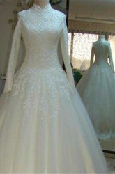 Ball Gown High Neck Lace Tulle Zipper Wedding Dress