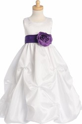 Floral Floral Ruched Organza Flower Girl Dress With Sash