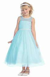 Tea-Length Pleated Bell-Sleeve Flower Girl Dress With Illusion