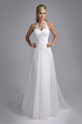 Halter Tulle A-Line Bridal Wedding Dress With Lace Appliques