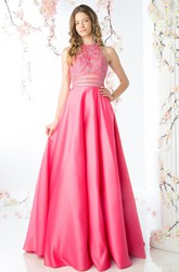 A-Line Long Jewel-Neck Sleeveless Satin Keyhole Dress With Beading