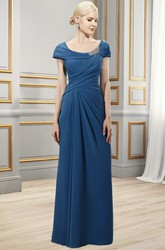 Sheath Broach Floor-Length Scoop Short-Sleeve Chiffon Formal Dress With Zipper Back And Draping