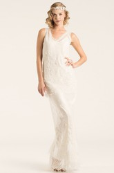 Floor-Length V-Neck Beaded Lace Wedding Dress With Appliques And V Back