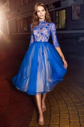 A-Line Tea-Length High Neck Half Sleeve Tulle Lace Illusion Dress With Flower