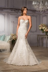 Sweetheart Mermaid Gown With Appliques And Lace-Up Back