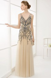 V Neck V Back A-Line Tulle Long Prom Dress With Crystal-Leaf Top