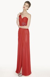 One Shoulder Chiffon Long Prom Dress With Front Split And Back Keyholes