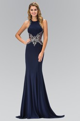 Sheath Jewel-Neck Sleeveless Jersey Illusion Dress With Beading