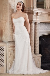 Strapless Floor-Length Appliqued Lace&Tulle Wedding Dress With Brush Train