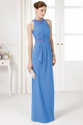 Sheath High-Neck Long Beaded Sleeveless Jersey Prom Dress With Draping