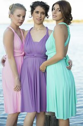 Knee-Length Halter Short Sleeve Ruched Chiffon Bridesmaid Dress With Straps