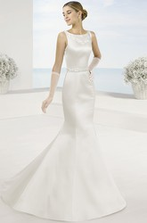 Mermaid Maxi Bateau Appliqued Sleeveless Satin Wedding Dress With Waist Jewellery And Illusion Back