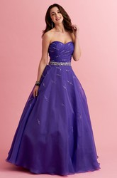A-Line Sweetheart Sleeveless Dress With Criss Cross And Beading