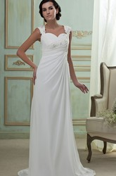 Queen Anne Cap-Sleeve Side-Ruching Chiffon Maxi Wedding Dress With Brush Train