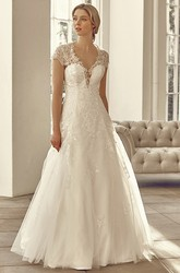 Long V-Neck Cap-Sleeve Appliqued Tulle&Lace Wedding Dress With Illusion