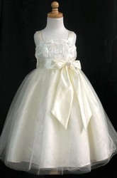 Embroideried Tea-Length Split-Front Bowed Tulle&Satin Flower Girl Dress With Sash