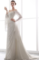Exquisite Spaghetti Long Sleeve Chiffon Wedding Dress with Ruching