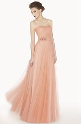 Empire Strapless A-Line Tulle Long Prom Dress With Floral Satin Sash
