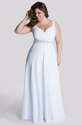A-line Chiffon Ruched Dress With Waist Jewellery