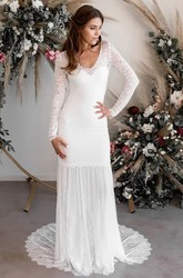 Sexy Chiffon and Lace Sheath Long Sleeves Deep-V Back Bridal Gown