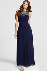Maxi Beaded Sleeveless Bateau Neck Chiffon Bridesmaid Dress With Criss Cross