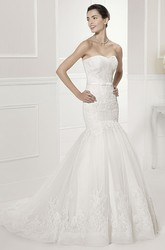 Criss-Cross Sweetheart Mermaid Tulle Bridal Gown With Lace And Belt