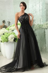 Graceful One-Shoulder Tulle Evening Gown With Side Zipper and Appliques
