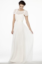 Maxi Scoop-Neck Ruched Cap-Sleeve Chiffon Wedding Dress With Ribbon And V Back