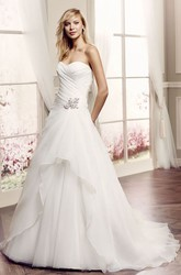 A-Line Sweetheart Tulle Wedding Dress With Criss Cross And Draping